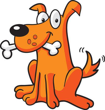 Ein glücklich Cartoon-Hund mit einem Knochen in seinem Mund. Standard-Bild - 26191010