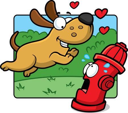 A happy cartoon dog in love with a fire hydrant.