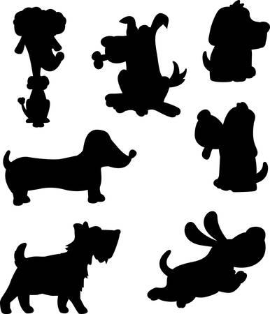 Een verscheidenheid van cartoon hond silhouet beelden.
