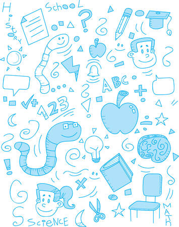 A cartoon doodle with a school theme.
