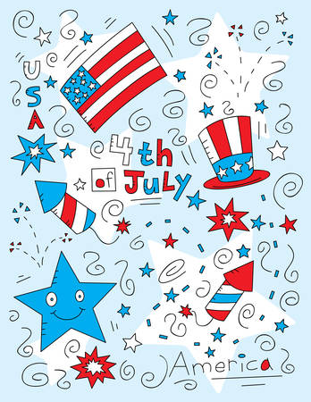A cartoon doodle with a Fourth of July theme.