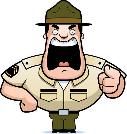 An angry cartoon drill sergeant yelling and pointing.