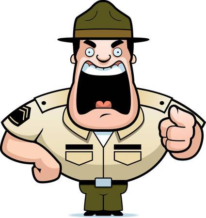 broca: Un sargento de taladro de dibujos animados enojado gritando y se�alando. Vectores