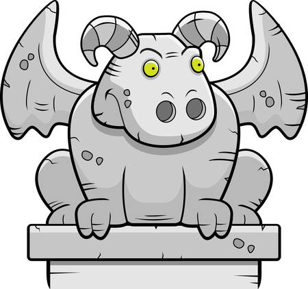 perched: A cartoon stone gargoyle monster perched.