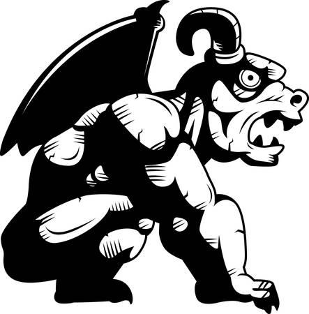 Een cartoon steengargouille monster neergestreken. Vector Illustratie