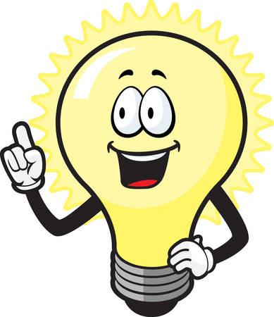 A happy cartoon light bulb with an idea.
