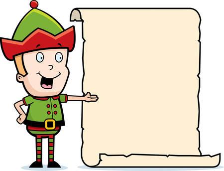 행복 한 만화 크리스마스 엘 프 목록입니다. 일러스트