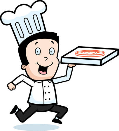 A happy cartoon boy delivering a pizza. Vector