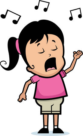 adolescent: A cartoon girl singing a song.