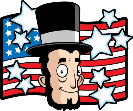 abraham lincoln: A happy cartoon Abe Lincoln in front of an American flag.