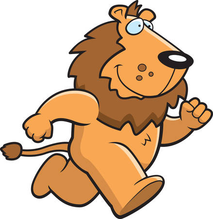 A happy cartoon lion running and smiling. Vector