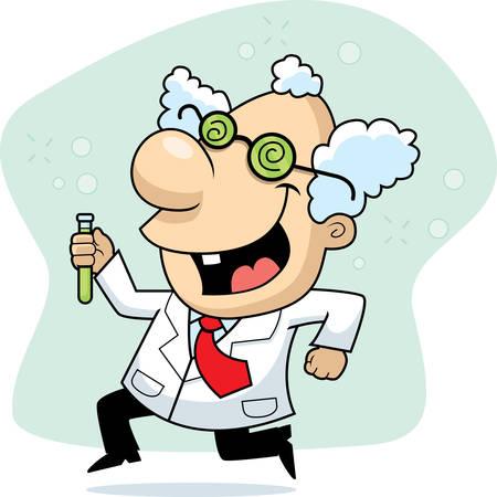 Een gelukkig cartoon gekke wetenschapper lopen en glimlachen.