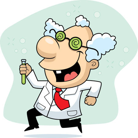 A happy cartoon mad scientist running and smiling.