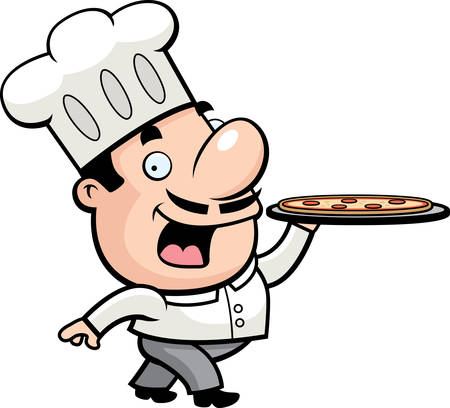 Een gelukkig cartoon chef-kok met een pizza.