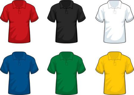 異なる色の襟付きシャツの様々 な。