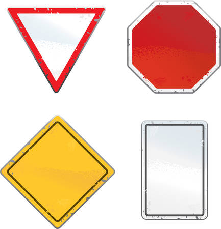 chipped: A variety of different traffic and road signs.