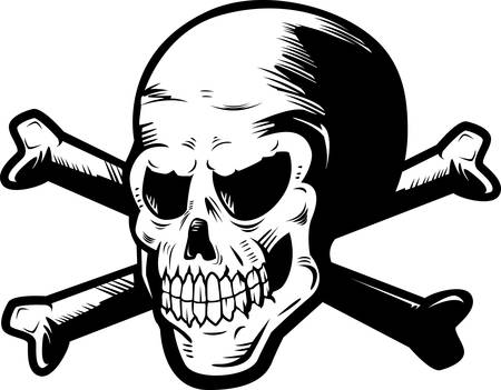 A black and white illustration of a skull and crossbones.
