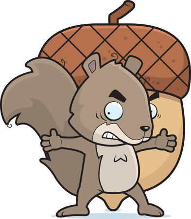 A cartoon squirrel guarding a large acorn nut.
