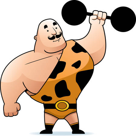 strongman: A cartoon strongman lifting a big dumbbell.