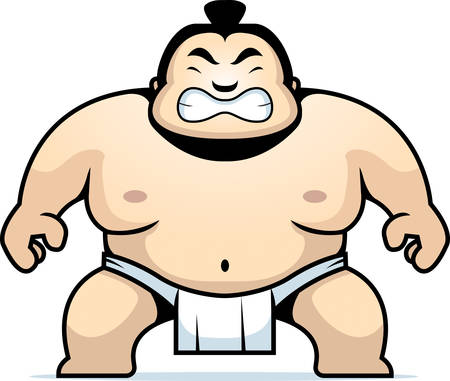 A cartoon sumo wrestler with an angry expression. Illustration