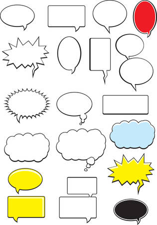 word: A variety of cartoon word bubbles and balloons.