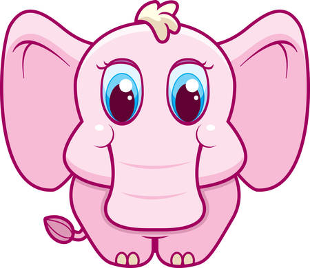 A happy cartoon pink baby elephant standing and smiling.
