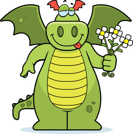 A happy cartoon dragon with a bouquet of flowers.