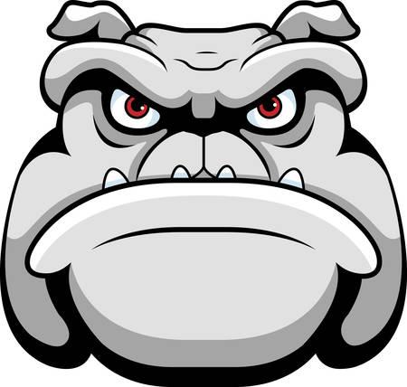 perro furioso: Una cara de la historieta y la cabeza de un bulldog.