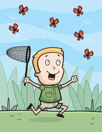 A happy cartoon boy chasing butterflies with a net. Vector