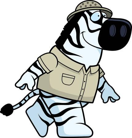 Een happy cartoon zebra explorer lopen en glimlachen.