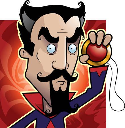 hypnotist: A cartoon hypnotist with a magical amulet.