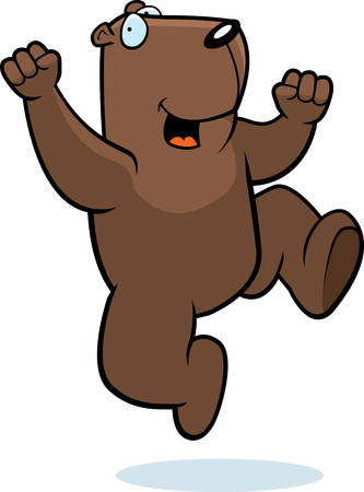 A happy cartoon groundhog jumping and smiling. Vector