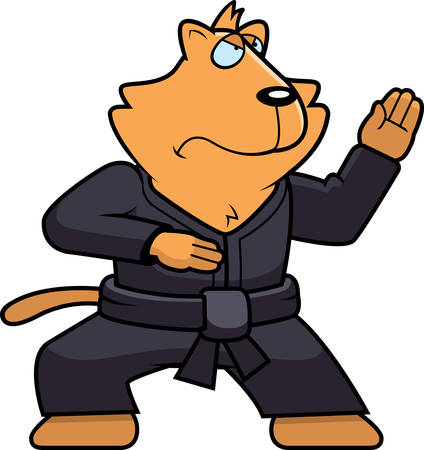 A cartoon cat doing karate in a gi.