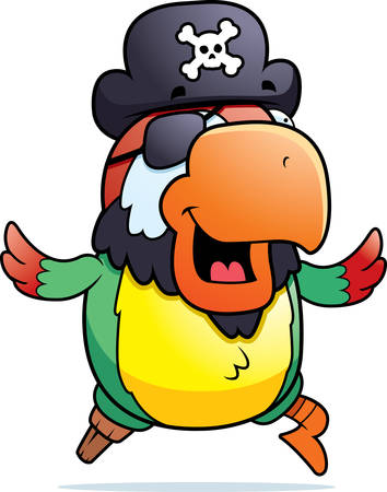 A happy cartoon pirate parrot running and smiling.