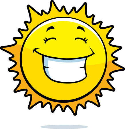 A cartoon yellow sun happy and smiling.