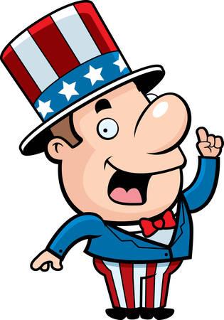A happy cartoon patriotic man with an idea.