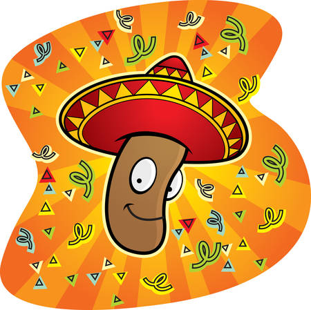 A happy cartoon Mexican jumping bean smiling. Vector