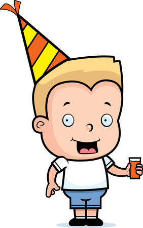 A happy cartoon birthday boy with a hat and drink.