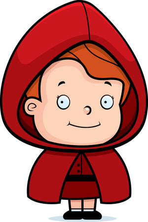 A happy cartoon girl in a red riding hood. Vector