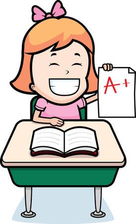 good: A happy cartoon student with good grades. Illustration