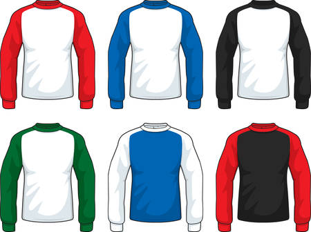 A variety of different colored long sleeve shirts.