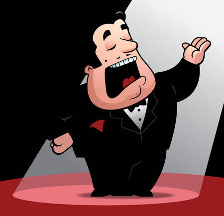 A cartoon opera singer under a spotlight. Vector