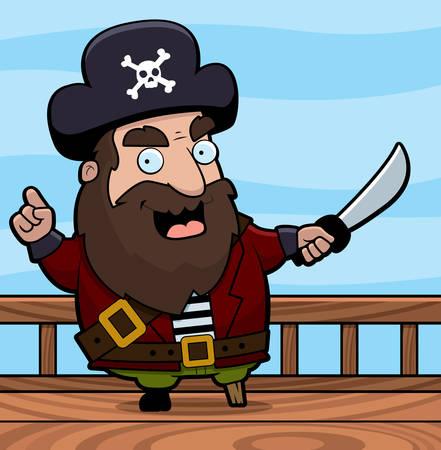船のデッキで幸せな漫画海賊。  イラスト・ベクター素材