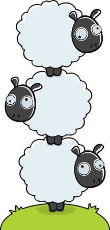 3 漫画羊は、互いの上にスタック。