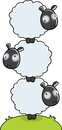 Tre pecore cartoon impilati uno sopra l'altro. Archivio Fotografico - 26343905