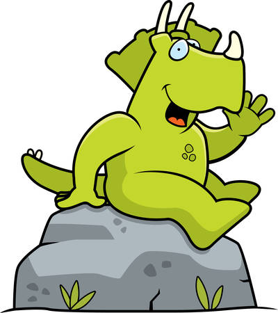 A happy cartoon dinosaur sitting and smiling.