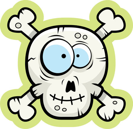 A cartoon skull and crossbones happy and smiling.