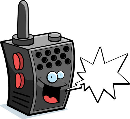 transmit: A happy cartoon walkie-talkie talking and smiling.