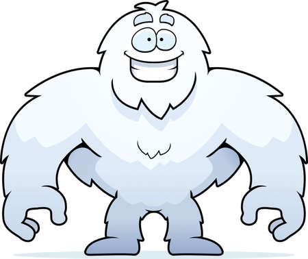 yeti: A happy cartoon yeti standing and smiling. Illustration