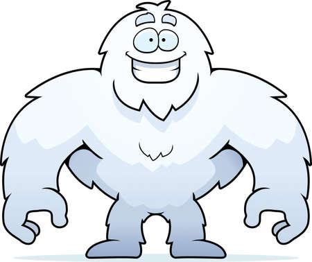 yeti: Ein gl�cklich Cartoon-Yeti, stehend und l�chelnd.